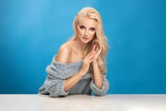 秀丽妇女时尚画象蓝色背景的 库存照片