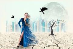 秀丽妇女的画象蓝色礼服的 库存照片