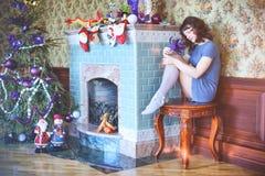 秀丽庆祝圣诞节的魅力妇女,佩带狂欢节加州 免版税库存照片