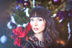 秀丽庆祝圣诞节的魅力妇女,穿一件被编织的毛线衣 免版税库存图片