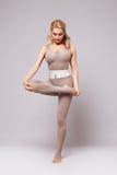 秀丽性感的妇女体育瑜伽pilates健身身体形状穿衣 免版税库存照片