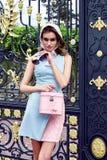 秀丽性感的妇女时装模特儿魅力样式穿衣 免版税库存图片