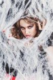 秀丽性感的巫婆女孩在蜘蛛网捉住了 时尚艺术设计 美丽的哥特式式样女孩与万圣夜组成 免版税图库摄影