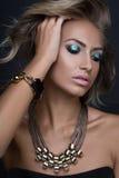 秀丽性感的时装模特儿妇女画象,隔绝在黑背景 库存图片
