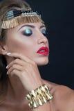 秀丽性感的时装模特儿妇女画象,隔绝在黑背景 免版税库存图片