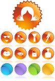 秀丽按钮图标系列集合贴纸假发 免版税库存图片