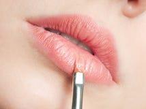 秀丽接近的嘴唇上升妇女年轻人 免版税库存图片
