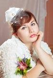 秀丽新娘纵向红头发人 免版税库存照片
