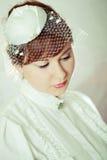 秀丽新娘纵向红头发人 库存图片