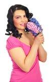 秀丽新鲜的风信花粉红色妇女 免版税图库摄影