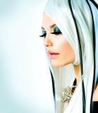 时尚女孩黑白样式 免版税图库摄影