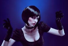 秀丽时尚画象性感的深色的妇女神色 免版税库存照片
