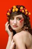 秀丽果子理想的纵向素食主义者妇女 图库摄影