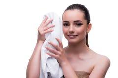 秀丽概念的妇女与毛巾温泉浴 免版税库存照片