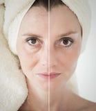 秀丽概念-护肤,防皱做法,回复, 库存照片