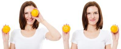 秀丽模型女孩采取桔子 组成专业人员 橙色片式 秀丽、化妆用品和时尚概念 免版税图库摄影