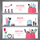 秀丽横幅设计 构成的化妆辅助部件 免版税库存照片