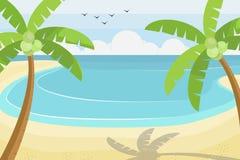秀丽海滩-夏天海滩场面 平的样式传染媒介例证 库存照片