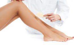 秀丽温泉 头发撤除整容术做法 给女性腿打蜡的美容师 库存图片