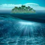 秀丽热带海岛在蓝色海洋 库存照片