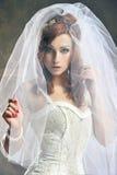 秀丽白色服装妇女 库存图片