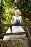 秀丽站立在桥梁的婚礼礼服的新娘 免版税库存图片