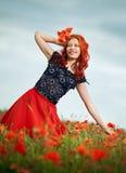 秀丽红发妇女 库存照片
