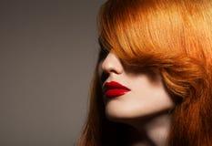 秀丽纵向。 健康明亮的头发 库存照片