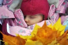 秀丽胸口孩子,新出生,睡觉特写镜头 免版税库存照片