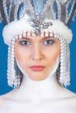 秀丽蓝色女孩在纵向冬天 免版税库存图片
