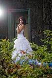 秀丽蓝色礼服佩带的婚礼妇女 免版税图库摄影