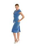 秀丽蓝色礼服妇女 免版税库存照片