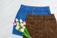 秀丽蓝色聪慧的概念表面方式构成妇女 两条裙子和桃红色郁金香 免版税库存照片