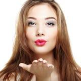 秀丽表面方式组成妇女 女孩微笑的年轻人 图库摄影