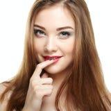 秀丽表面方式组成妇女 女孩微笑的年轻人 免版税图库摄影