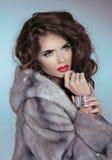 秀丽貂皮皮大衣的时装模特儿女孩。美好的豪华胜利 免版税图库摄影