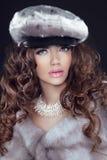 秀丽貂皮皮大衣的时装模特儿妇女。冬天女孩在Luxu 免版税图库摄影