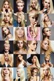 秀丽金发碧眼的女人拼贴画 妇女的面孔 库存照片