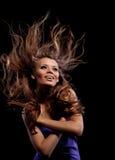 秀丽长期女孩头发年轻人 免版税库存图片