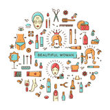 秀丽集合线象艺术美丽的妇女传染媒介化妆用品温泉 免版税库存图片