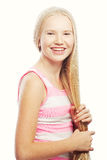 秀丽青少年的女孩 美丽的模型表面 库存图片