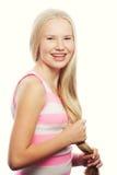 秀丽青少年的女孩 美丽的模型表面 库存照片
