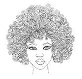 秀丽非洲人妇女画象  图表样式 免版税图库摄影