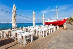 秀丽餐馆,米科诺斯岛海岛 免版税库存照片