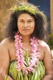 秀丽,妇女传统打扮,自然材料,所罗门群岛,南太平洋 免版税库存图片