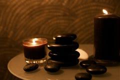秀丽,蜡烛,温泉,石头 免版税库存照片