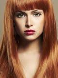 秀丽组成女孩画象 红色头发 库存图片