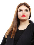秀丽年轻拉丁妇女画象,长的头发brunett女孩 库存照片