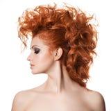 秀丽画象。发型 免版税库存图片