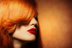 秀丽画象。 健康明亮的头发 免版税库存照片